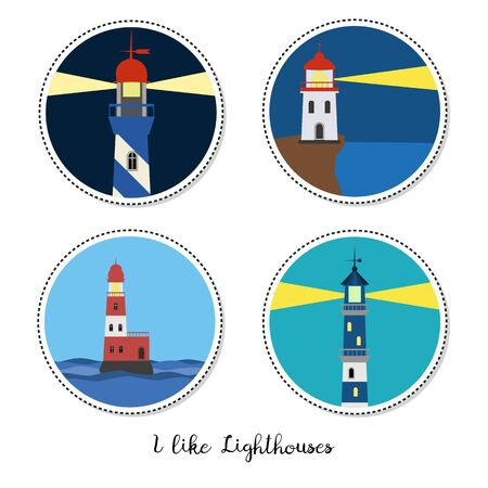 Cartoon stickers with lighthouses on white background. Vector illustration.