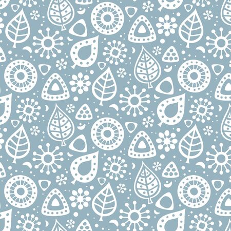 Cute seamless pattern with the leaves and flowers. Vector illustration. Illustration