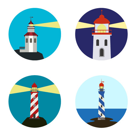 Set of lighthouse icons on white background. Vector illustration.