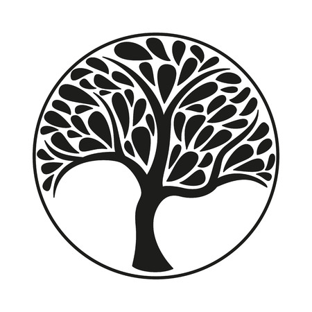 Ornament tree icon on white background. Vector illustration. Illustration