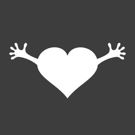 Heart with hands icon on black background. Vector illustration.