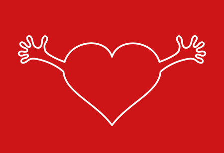smooch: Heart with hands icon on red background. Vector illustration. Illustration