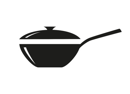 Wok frying pan icon on white background. Vector illustration.