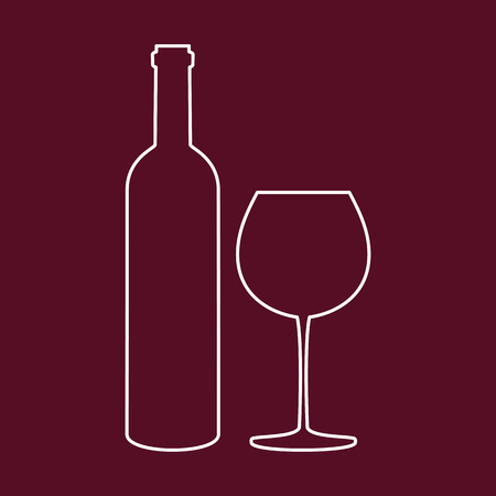 Bottle of wine and glass on red background. Vector illustration.