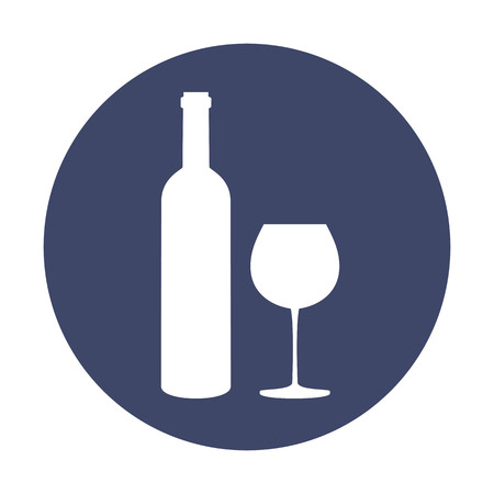Bottle of wine and glass on blue background. Vector illustration. 向量圖像