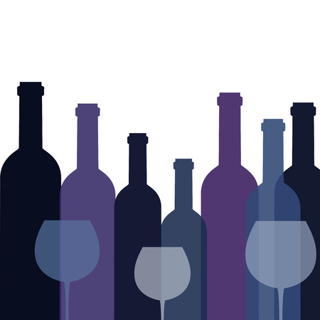 Background with bottles of wine and glasses. Vector illustration. Illustration