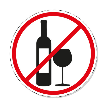 No alcohol sign on white background. Vector illustration.