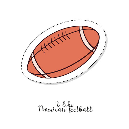Cartoon sticker with American football ball on white background. Vector illustration.