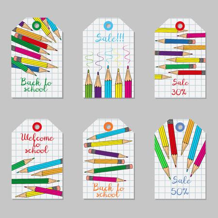 色とりどりの鉛筆とタグのセットです。ベクトルの図。
