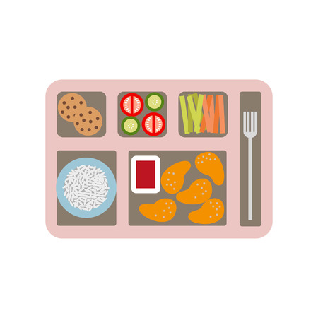 School lunch box for children. Vector illustration.