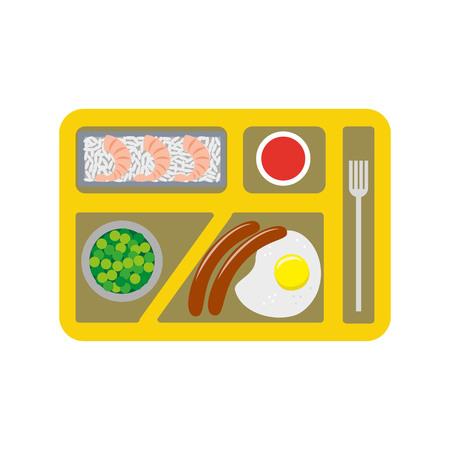 school cafeteria: School lunch box for children. Vector illustration.