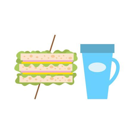 School lunch for children. Vector illustration.