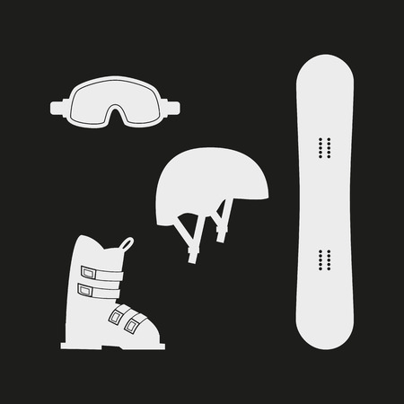halfpipe: Winter white sports icons on black background. Set of winter sports equipment. Vector illustration.