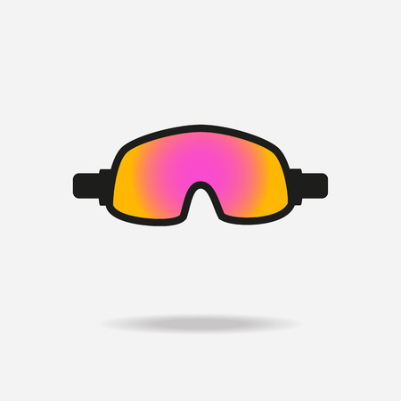 Goggles icon on white background. Winter sports equipment. Vector illustration.