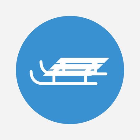 Weißer Schlitten auf blauem Hintergrund. Wintersportausrüstung. Vektor-Illustration. Standard-Bild - 82776403
