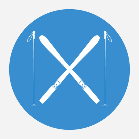 Icône de ski blanc sur fond bleu. Matériel de sports d'hiver. Illustration vectorielle. Banque d'images - 82776405