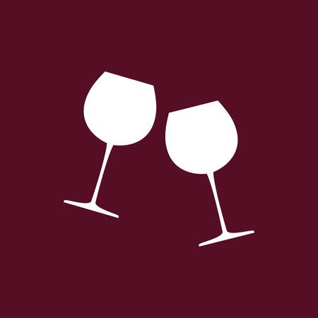 Two glasses of wine. Wine icon. Vector illustration.