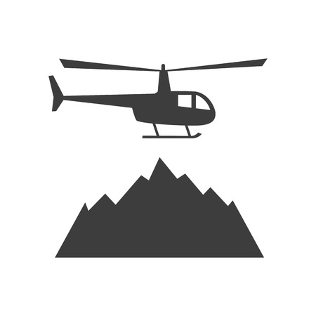 Heliskiing flat icon with helicopter and mountains. Design for tourist catalog, maps of the ski slopes, placard, brochure, flyer, booklet. Vector illustration.