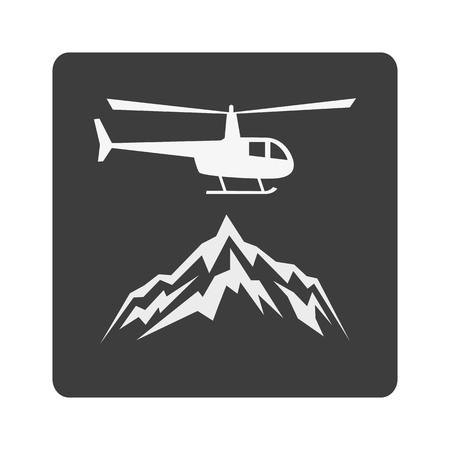 ヘリコプターと山でヘリスキー フラット アイコン。観光客のカタログ、スキー場、プラカード、パンフレット、チラシ、小冊子の地図デザイン。ベ