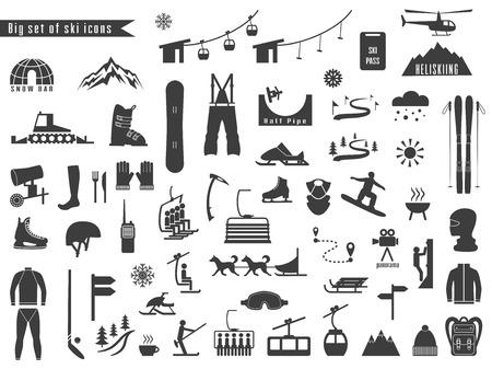 Duży zestaw ikon dla sportów zimowych i narciarskich. Projekt dla katalogu turystycznego, mapy tras narciarskich, plakat, broszura, ulotka, broszura. Ilustracji wektorowych.