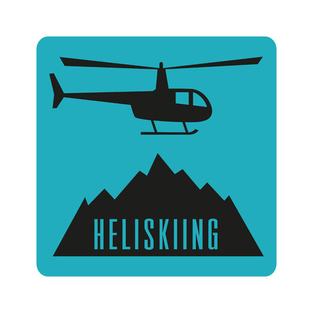 Icona piana di heliski con elicottero e montagne. Design per catalogo turistico, mappe delle piste da sci, cartello, brochure, flyer, libretto. Illustrazione vettoriale Archivio Fotografico - 82796379