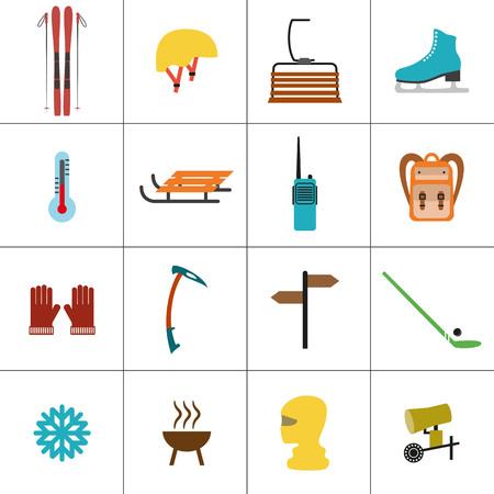chairlift: Set of icons for ski and winter sports. Design for tourist catalog, maps of the ski slopes, placard, brochure, flyer, booklet. Vector illustration. Illustration