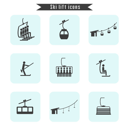 Set of ski cable lift icons for ski and winter sports. Design for tourist catalog, maps of the ski slopes, placard, brochure, flyer, booklet. Vector illustration. Фото со стока - 82796561