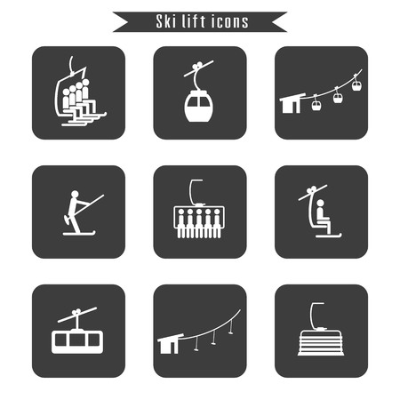 detachable: Set of ski cable lift icons for ski and winter sports. Design for tourist catalog, maps of the ski slopes, placard, brochure, flyer, booklet. Vector illustration.