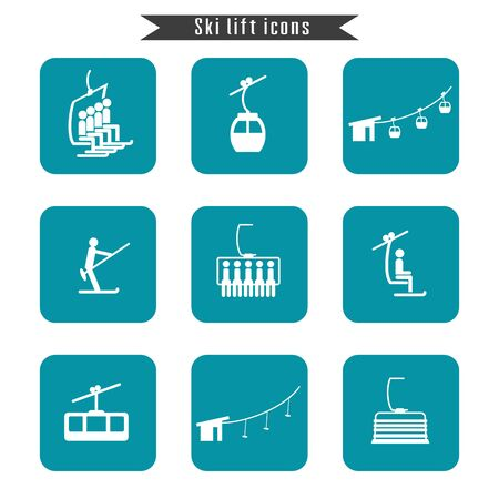 chairlift: Set of ski cable lift icons for ski and winter sports. Design for tourist catalog, maps of the ski slopes, placard, brochure, flyer, booklet. Vector illustration.