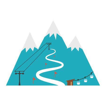 Ski resort icon. Design for tourist catalog, maps of the ski slopes, placard, brochure, flyer, booklet etc. Vector illustration.