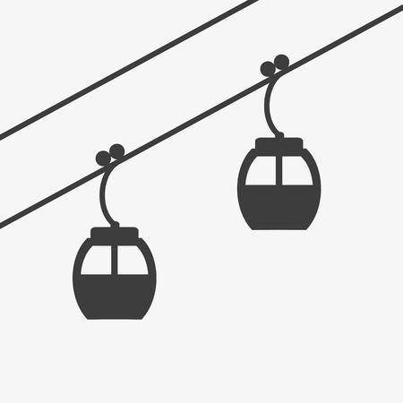スキーと冬のスポーツのスキー ケーブル リフト アイコン。観光客のカタログ、スキー場、プラカード、パンフレット、チラシ、小冊子の地図デザ