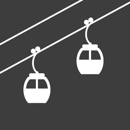 chairlift: Ski cable lift icon for ski and winter sports. Design for tourist catalog, maps of the ski slopes, placard, brochure, flyer, booklet. Vector illustration.
