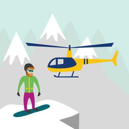 Heli skiing. Heliskiing flat illustration with helicopter, mountains and snowboarder. Vector illustration.