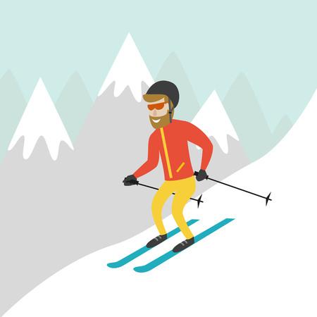 snowy hill: Ski resort illustration with skier and mountains. Design for web, tourist catalog, placard, brochure, flyer, booklet etc. Vector illustration. Illustration