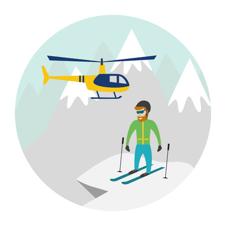 Heli skiing. Heliskiing flat illustration with helicopter, mountains and skier. Vector illustration.