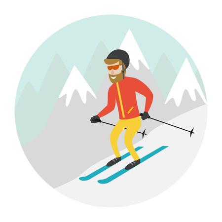 Ski resort illustration with skier and mountains. Design for web, tourist catalog, placard, brochure, flyer, booklet etc. Vector illustration. Illustration
