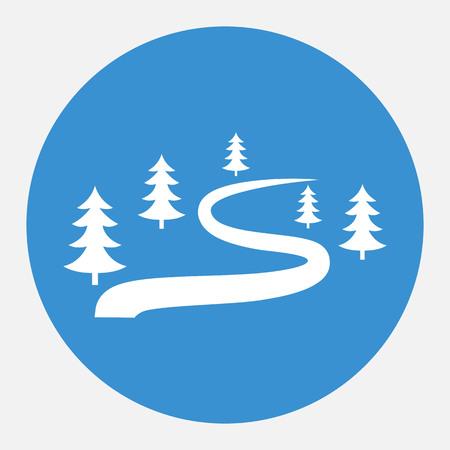 Ski route icône pour la route d & # 39 ; hiver. route d & # 39 ; hiver. pour le terrain de jeu de la forêt. vue Banque d'images - 82805921