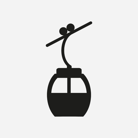 Ski cable lift icon for ski and winter sports. Design for tourist catalog, maps of the ski slopes, placard, brochure, flyer, booklet. Vector illustration. Фото со стока - 82805926