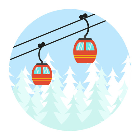 Ski cable lift icon for ski and winter sports. Vector illustration.