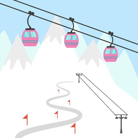 chairlift: Ski resort icon. Design for tourist catalog, maps of the ski slopes, placard, brochure, flyer, booklet etc. Vector illustration.