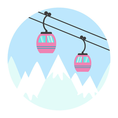 chairlift: Ski cable lift icon for ski and winter sports. Vector illustration.