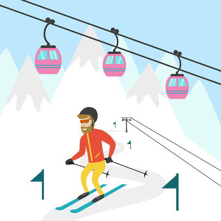 chairlift: Ski resort illustration. Design for wed, tourist catalog, placard, brochure, flyer, booklet etc. Vector illustration.