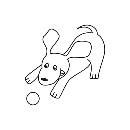 Funny cartoon dog illustration on white background. Vector illustration.