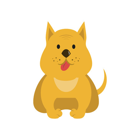 Funny cartoon dog illustration on white background. Vector illustration.