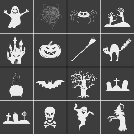 Set of halloween spooky white silhouettes. Vector icons for halloween invitation card or halloween party poster vector.