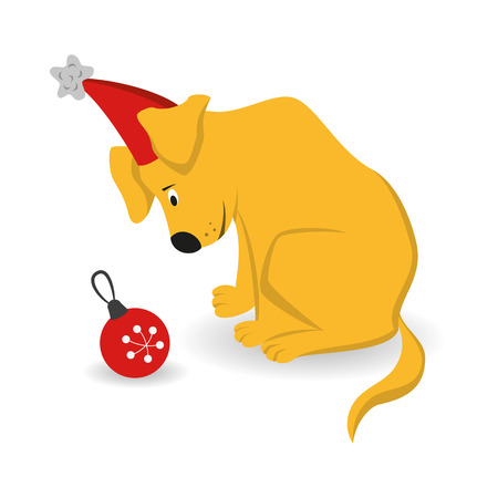 Cartoon dog with christmas tree toy on the white background. Symbol of Chinese New Year 2018.