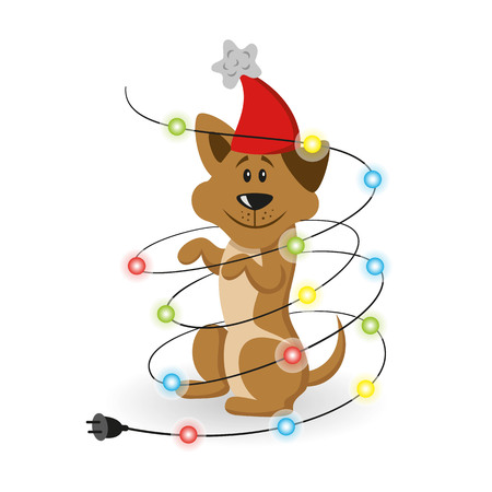 new: Cartoon dog with christmas garland on the white background. Symbol of Chinese New Year 2018.