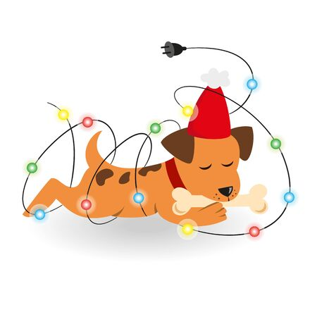 new: Cartoon dog with Christmas garland on the white background.