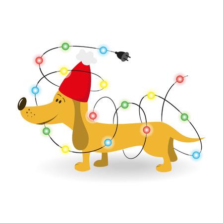 白い背景の上のクリスマスの花輪を持つ漫画犬。