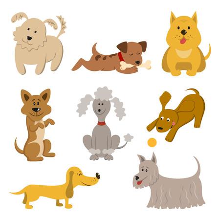 Set of funny cartoon dogs.